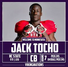 """JACK TOCHO CB #39 6'0 202  Pick #11 (NC State), """"mojotocho"""" Home: Charlotte, NC Parents from Kenya  RS: flexibility in coverage as corner and safety"""