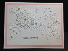 My Creative Corner!: A Flourish Thinlits and Teeny Tiny Wishes Anniversary Card - Needs bigger sentiment Happy Anniversary Cards, Happy Birthday Cards, Valentine Day Cards, Happy Birthdays, Anniversary Ideas, Birthday Greetings, Birthday Wishes, Birthday Gifts, Sympathy Cards