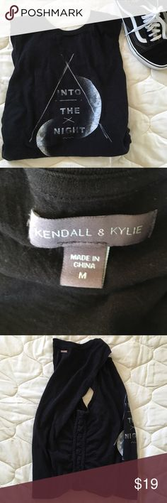 """Kendall & Kylie Muscle Top Side Detailing knotting - black - """"Into the Night"""" - muscle tee - worn/washed  - I answer questions as soon as possible SMOKE FREE HOME PET FREE HOME  Check out my other items! Bundle For DISCOUNTS  *no more holds  BUY BEFORE SOMEONE ELSE DOES! - i am not cancelling if someone buys before you do Kendall & Kylie Tops Muscle Tees"""
