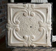 12 Antique Tin Ceiling Tile  Rusty Cream by VINTAGEHOMEACCENTS