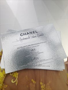 Pernia's invitation to Chanel Haute Couture show Business Card Fonts, Business Card Design, Ticket Design, Flyer Design, Invitation Card Design, Invitation Cards, Stationery Design, Branding Design, Fashion Show Invitation