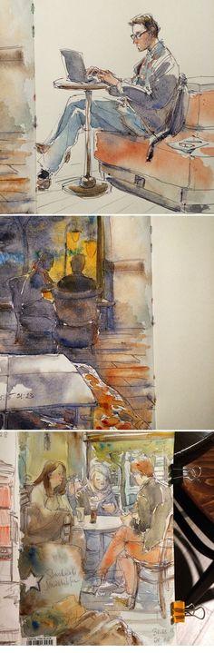 Vorona Nanetta - Starbucks sketches #sketch #watercolor