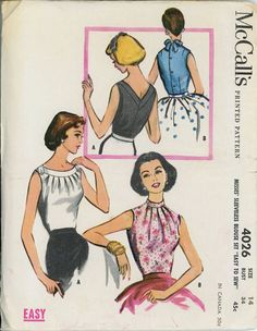 McCalls 4026 Misses 1950s Blouse Pattern Sleeveless Fitted Peplum Blouses with Neckline Variations Womens Vintage Sewing Pattern Bust 34. $22.00, via Etsy.