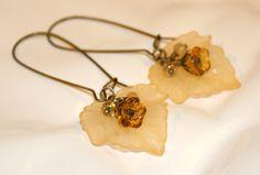 Leaf earrings yellow flower dangle earrings by CharmingLifeJewelry, $15.00