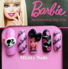 Items similar to Love Barbie Nails on Etsy Nail Art Dessin, 3d Nail Art, 3d Nails, Love Nails, Pink Nails, Glam Nails, Green Nails, Gorgeous Nails, Pretty Nails