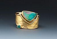 Boulder Opal / emerald  Ring