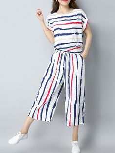 Stripes Casual Short Sleeve Blouse Two Pieces for Women
