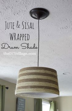 DIY::Charming Cottage Jute and Sisal Wrapped Drum Shade (redo on vases;