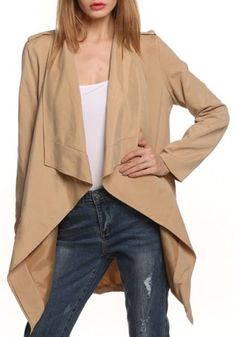 Stylish Turn-Down Collar Long Sleeves Solid Color Trench Coat For Women...$17.68