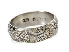 Fully Hallmarked Antique Eternity Band Wedding Ring I LOVE the carvings! Antique Wedding Rings, Antique Rings, Vintage Rings, Antique Jewelry, Vintage Jewelry, Eternity Ring Diamond, Eternity Bands, Celtic Wedding Bands, Wedding Men