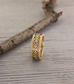 Unusual wedding band in vintage style, Eternity wedding band, Filigree gold ring, Gold ring for men and women, Wedding band with pattern #weddingring