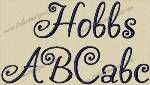 Hobbs Embroidery Font by 8Clawsandapaw.com