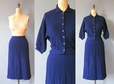 1950s Knit Set / Luncheon Skirt and Sweater Set / 50s