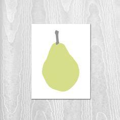 Pear Print  11x14 Print  Pear  Green by pumpkinandbutterfly, $24.00