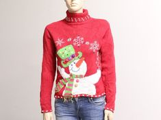 Vintage Christmas Sweater (P-CS-305) Measurements: Chest: 34 inches/ 88 centimeters [ measured all the way around, about an inch below armhole ] Length: approximately 20.5 inches/ 51 centimeters [ measured from highest point of shoulder to bottom hem ] Arm length: 21 inches/ 54 Vintage Christmas Sweaters, Vintage Sweaters, Red Sweaters, Ugly Christmas Sweater, Sweaters For Women, Have A Happy Holiday, Lace Denim Shorts, Vintage Outfits, Vintage Fashion