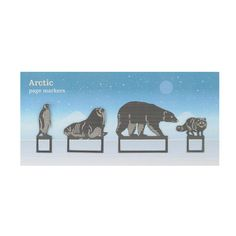 Arctic bookmarks  £7.95  Learn about the arctic habitat with this set of arctic animal bookmarks complete with interesting arctic facts and information.Beautifully etched, the set of metal page markers include a Polar Bear, Emperor Penguin, Arctic Fox and Walrus