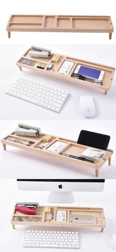 Bamboo Wooden Memo Holder iPhone iPad Smart Phone Stand Holder Dock Pen Pencil Holder Stand Business Card Display Stand Holder Memo Holder Office Desk Supplies Stationary Organizer,Creative DIY Desk Organizer Ideas to Make Your Desk Cute!