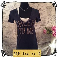 """A&F graphic tee Cheers To Me Size small navy blue vneck Abercrombie & Fitch """"Cheers To Me"""" short sleeve tee. Abercrombie & Fitch Tops"""