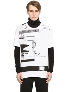 Fax Tape Printed Cotton Jersey T-Shirt