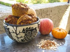 Pumpkin-Apple Harvest Muffins. Super moist, low-fat and chock-full of fall spices, apple chunks and dried cranberries. #muffins #healthy #fall #apple #pumpkin