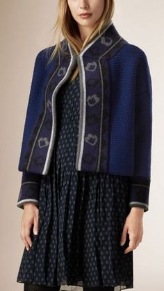 Cropped Knitted Wool Blend Jacket