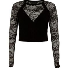 River Island Black lace insert long sleeve fitted top ($90) ❤ liked on Polyvore featuring tops, black, knitted tops, knitwear, women, plunge top, river island tops, river island, fitted tops and lace inset top