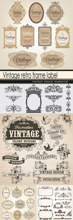 Vintage retro frame label
