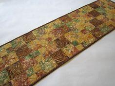 Quilted Table Runner, Batik Handmade Table Runner