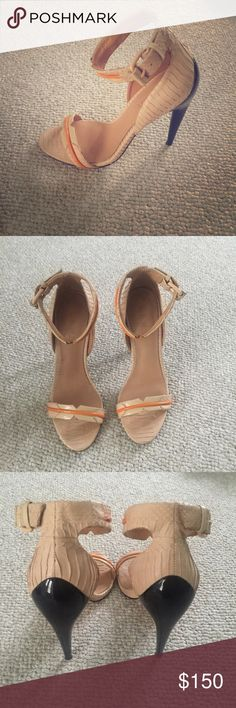 L.A.M.B heels Super cute -- worn once! Black heel, creme leather, orange detail! L.A.M.B. Shoes Heels