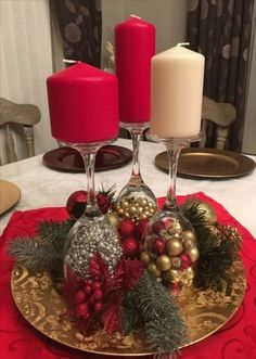 Holiday Party Decorations Diy Christmas Ornament Ideas For 2019 Christmas Candle Decorations, Christmas Candles, Christmas Ornaments, Christmas Wine, Simple Christmas, Christmas Holidays, Beautiful Christmas, Wine Glass Candle Holder, Deco Table Noel