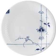 "I didn't know Royal Copenhagen did anything this untraditional. ""Blue Palmette"" plate, $50"