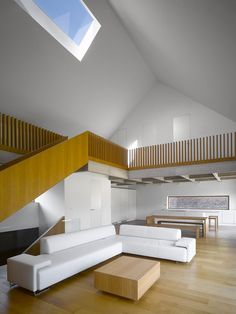 JRA Jaroušek Rochová Architekti's main design concept for Family House in Malá Lhota was to create a building traditional, modest and coherent with the surrounding neighborhood featuring Czech rural architecture #ceiling