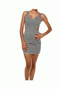 Open Back Striped Bodycon Dress In Black/White/Shimmery Silver