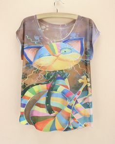 0f7add9e83e2 Wild Cat Print Womens Cute Graphic Tshirt Tees For Women