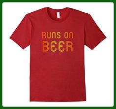 Mens Runs On Beer Funny Running Drinking Retro Runner T Shirt 2XL Cranberry - Food and drink shirts (*Amazon Partner-Link)
