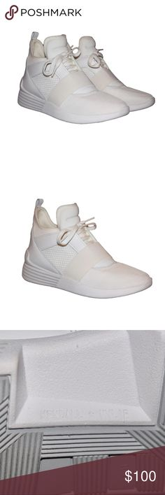 Kendall + Kylie Jogger Sneaker Exclusive jogger shoes by Kendall + Kylie! Very sporty and so cute for a day out with friends or even walking to class. You can't find this shoe in white anywhere!!  Purchased online for $135, selling for $100. Kendall & Kylie Shoes Sneakers