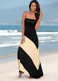 Strapless dress casual black and cream. Perfect date dress!!