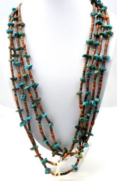 Mother Of Pearl Bird Heishi Bead Necklace Turquoise Coral Vintage