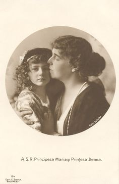A lovely portrait of Ileana and her mother, Queen Marie. Ileana was almost certainly the child of her mother's lover, Prince Barbu Stribey, and not her mother's husband, King Ferdinand. Ferdinand, however, claimed Ileana as his own. Queen Victoria Descendants, Romanian Royal Family, Young Prince, Lineage, Rare Pictures, Granddaughters, Prince And Princess, Ferdinand, Vintage Girls