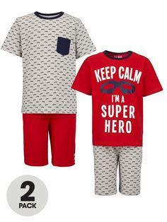 Demo Boys Shorty Pyjamas (2 Pack) | very.co.uk