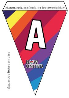 Bandeirola Alfabeto Now United Mary, Logos, Logo, Alphabet, Kids Part, Tips, A Logo