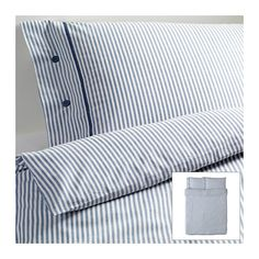 NYPONROS Duvet cover and pillowcase(s), white/blue white/blue Full/Queen (Double/Queen)