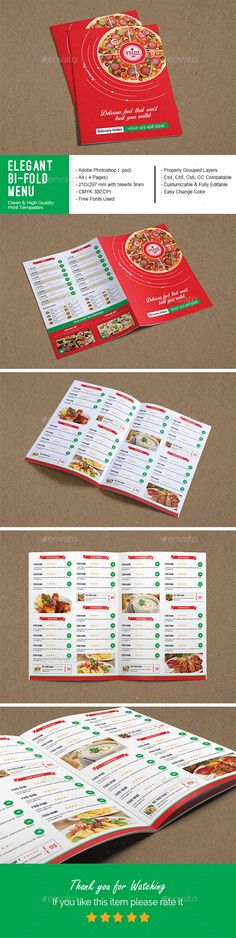 PSD Elegant Bi-Fold Restaurant Menu Template • Only available here ➝ http://graphicriver.net/item/elegant-bifold-restaurant-menu-/16466795?ref=pxcr