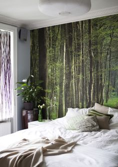 For a bold nature-inspired feature wall try patterned wall paper | #IKEAIDEAS for spring
