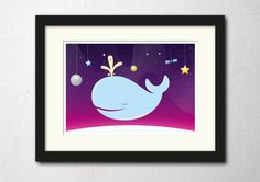 Whale print poster, art for nursery, colorful print, space art, A2 £24.99