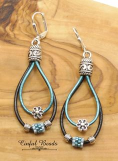 Simple Earrings, Leather Earrings, Leather Jewelry, Crystal Earrings, Beaded Earrings, Wire Jewelry, Boho Jewelry, Beaded Jewelry, Jewelery