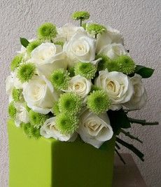 green mums with white rose