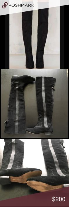 Over the Knee Boots Black leather & fabric, zipper up the back, elastic down the sides. 1 inch heel. Worn twice libby endelman Shoes Over the Knee Boots