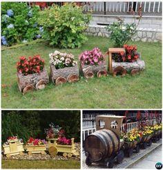 DIY Train Planter -20 Colorful Garden Art DIY Decorating Ideas