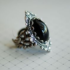 NEW  Midnight in Forks ring  VIctorian Goth Jet by blackpersimmons, $26.00